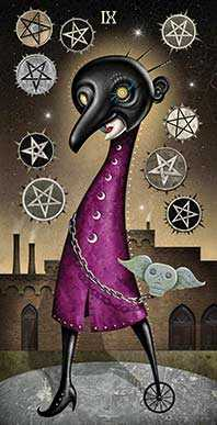 Nine of Coins Tarot Card - Deviant Moon Tarot Deck