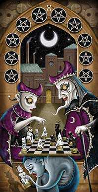 Ten of Pumpkins Tarot Card - Deviant Moon Tarot Deck