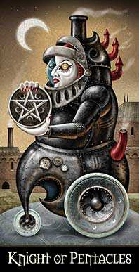 Knight of Coins Tarot Card - Deviant Moon Tarot Deck