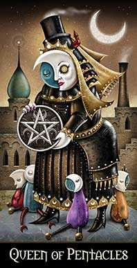 Queen of Coins Tarot Card - Deviant Moon Tarot Deck