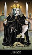 Justice Tarot card in Deviant Moon deck