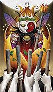 Six of Wands Tarot card in Deviant Moon deck
