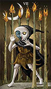 Seven of Wands Tarot card in Deviant Moon deck