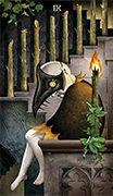 Nine of Wands Tarot card in Deviant Moon deck