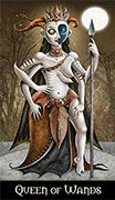Queen of Wands Tarot card in Deviant Moon deck