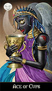 Ace of Cups Tarot card in Deviant Moon deck