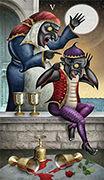Five of Cups Tarot card in Deviant Moon deck