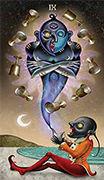 Nine of Cups Tarot card in Deviant Moon deck