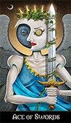 Ace of Swords Tarot card in Deviant Moon deck