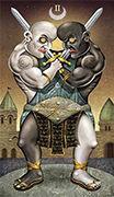 Two of Swords Tarot card in Deviant Moon deck
