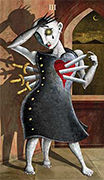 Three of Swords Tarot card in Deviant Moon deck