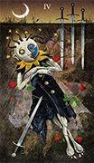 Four of Swords Tarot card in Deviant Moon deck