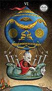 Six of Swords Tarot card in Deviant Moon deck