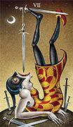 Seven of Swords Tarot card in Deviant Moon deck