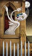 Eight of Swords Tarot card in Deviant Moon deck