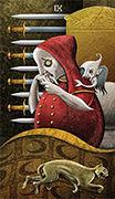 Nine of Swords Tarot card in Deviant Moon deck