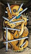 Ten of Swords Tarot card in Deviant Moon deck