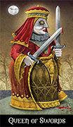 Queen of Swords Tarot card in Deviant Moon deck