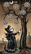 Seven of Coins Tarot card in Deviant Moon deck