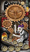 Eight of Coins Tarot card in Deviant Moon deck
