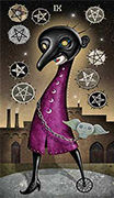 Nine of Coins Tarot card in Deviant Moon deck