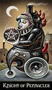 Knight of Coins Tarot card in Deviant Moon deck