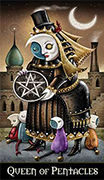 Queen of Coins Tarot card in Deviant Moon deck