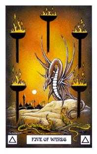 Five of Staves Tarot Card - Dragon Tarot Deck