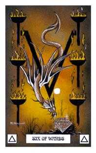 Six of Pipes Tarot Card - Dragon Tarot Deck