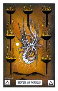 Seven of Staves Tarot Card - Dragon Tarot Deck