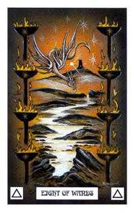 Eight of Pipes Tarot Card - Dragon Tarot Deck