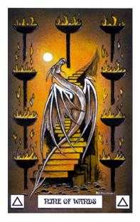 Nine of Sceptres Tarot Card - Dragon Tarot Deck