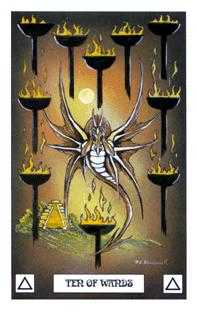 Ten of Batons Tarot Card - Dragon Tarot Deck