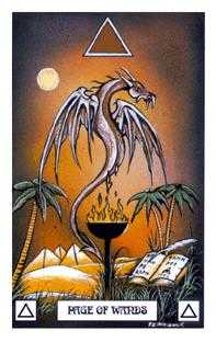 Page of Clubs Tarot Card - Dragon Tarot Deck