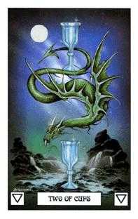 Two of Bowls Tarot Card - Dragon Tarot Deck