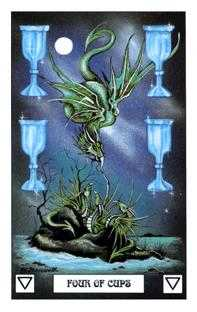 Four of Hearts Tarot Card - Dragon Tarot Deck