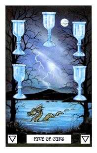Five of Bowls Tarot Card - Dragon Tarot Deck