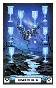 Eight of Bowls Tarot Card - Dragon Tarot Deck