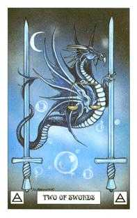 Two of Bats Tarot Card - Dragon Tarot Deck