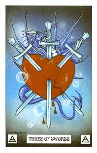 Three of Arrows Tarot Card - Dragon Tarot Deck