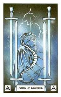 Four of Spades Tarot Card - Dragon Tarot Deck