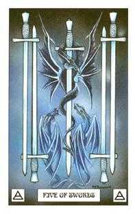 Five of Swords Tarot Card - Dragon Tarot Deck