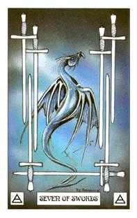 Seven of Bats Tarot Card - Dragon Tarot Deck