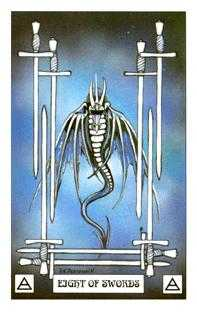 Eight of Bats Tarot Card - Dragon Tarot Deck