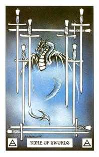 Nine of Arrows Tarot Card - Dragon Tarot Deck