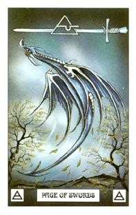 Page of Spades Tarot Card - Dragon Tarot Deck