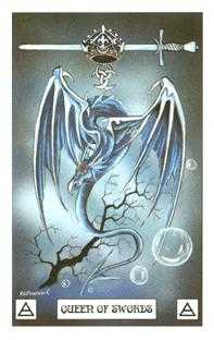 Queen of Swords Tarot Card - Dragon Tarot Deck