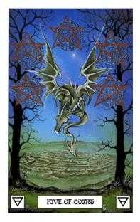 Five of Pentacles Tarot Card - Dragon Tarot Deck