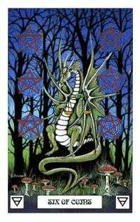 Six of Pentacles Tarot Card - Dragon Tarot Deck