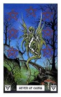 Seven of Coins Tarot Card - Dragon Tarot Deck